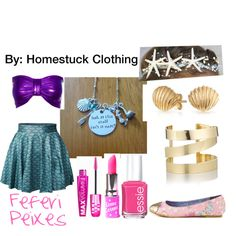 Feferi Peixes (Homestuck Clothing) by hermione625 on Polyvore featuring Iron Fist, Étoile Isabel Marant, Bling Jewelry, Wet n Wild, Lime Crime and Essie