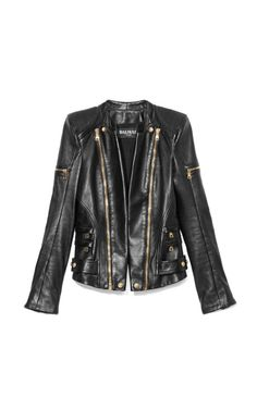 Leather Biker Jacket by Balmain Now Available on Moda Operandi