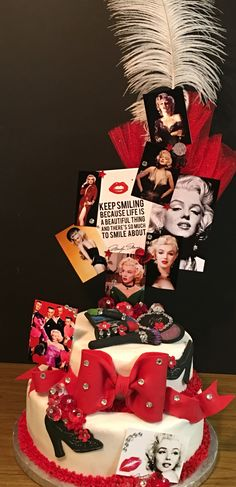 Creative Cake Designs by Tya Fondant bow and makeup  Marilyn Monroe