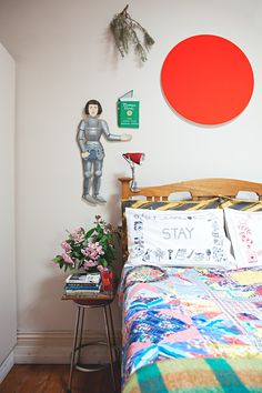Quilt and embroidered pillow cases - Eclectic Maximalism in Melbourne