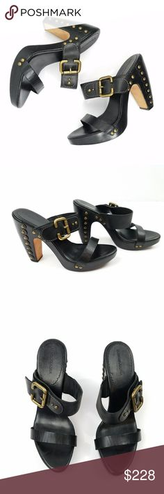 """BCBGMaxAzria Black Leather Stud Mule Heels Mule/slip on style Open toe  4.75"""" heel with 1/2"""" platform Made in Brazil Brass stud & buckle detail  Marked """"L13"""" No size noted - fit 8.5 perfectly  Very good gently used condition - signs of wear to soles   PLEASE READ CLOSET INFO AND POLICIES POST BCBGMaxAzria Shoes Mules & Clogs"""
