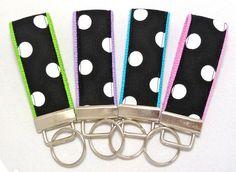 Mini Key Fob  Black & White Polka Dot on Choice by nangatesdesigns