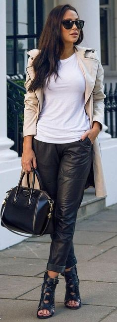 #business #casualoutfits #spring | Nude Trench + White Tee + Black Leather Pants | Johanna Olsson