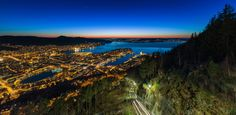 The city of Bergen, Norway as seen from top of Mount Floyen around 320 meters above sea level. Sea Level, Bergen, City Lights, Norway, Vikings, Mountains, Nature, Photography, Travel