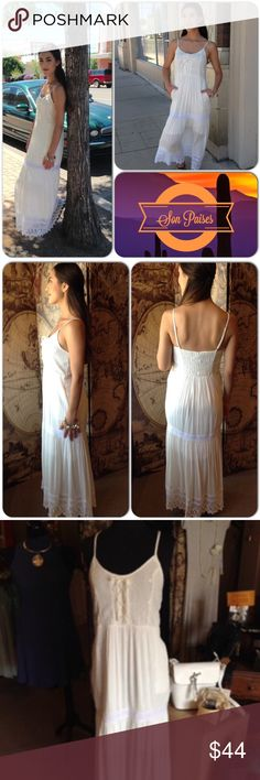 White Maxi Dress/Weekend Deal! This beautiful dress features spaghetti straps with crochet details and front tie details. Also has pockets. Lined. 100% Rayon (This closet does not trade or use PayPal ) May and July Dresses Maxi