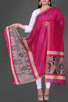 Fuchisa & Black Jamdani Silk Dupatta