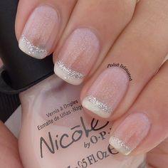Polish Infatuated: A girly French manicure... wedding nails, french manicures, gir french, french wedding, wedding manicure, short nails, nail ideas, glitter, polish