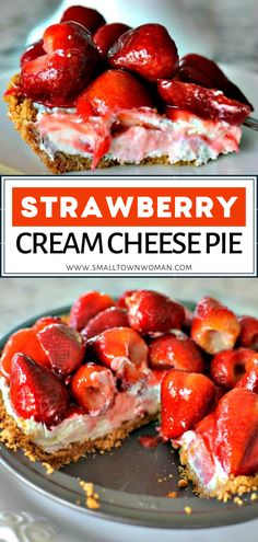 Make Strawberry Cream Cheese Pie in no time! This homemade Easter treat nestles a cream cheese-based pie in a sweetened graham cracker crust then topped with glazed fresh strawberries. Add this easy Strawberry Cream Cheese Pie, Strawberries And Cream, Recipes With Fresh Strawberries, Fresh Strawberry Desserts, Easy Strawberry Recipes, Stawberry Pie, Cheesecake Pie, Cheesecake Recipes, Pie Recipes