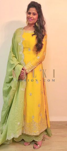 Buy Online from the link below. We ship worldwide (Free Shipping over US$100)  Click Anywhere to Tag Sai Tamhankar in vibrant yellow and light green palazzo suit only on Kalki The palazzo suit in vibrant yellow and light green is adorned with minimal gotta-patti work.  The palazzo pants has scallop detailing at the hem as an extra highlight.