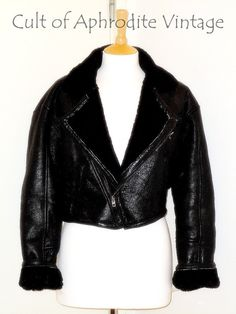 Vintage 70s Sheepskin Shearling Leather Aviator by CultofAphrodite, $280.99