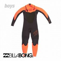 Billabong Wetsuits - Billabong Boy's Foil 5/4mm Chest Zip Wetsuit - Graphite/Orange/White