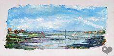 Art Lover Place - Arcachon : marée basse à l'Aiguillon (Peinture) par Michel Hamelin