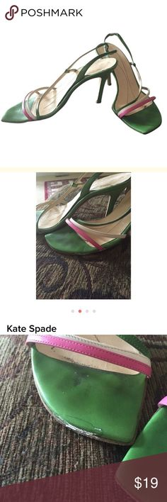 Kate Spade sandals Green pink and white sandals. There is some wear. Please look at pictures. They still have a lot of life in them and are fantastic! Eye catching! kate spade Shoes Heels