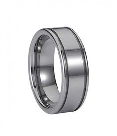 8MM Fashion Grooved Tungsten Carbide Band for Men and Women - Tungsten Rings
