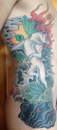 Ribs tattoo on my boy of Okami videogame (Amaterasu, queen of the sun) Classic japanese style ;) Capcom Okami tattoo