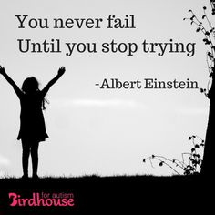 """""""You never fail until you stop trying"""" -Einstein #Autism #parenting"""