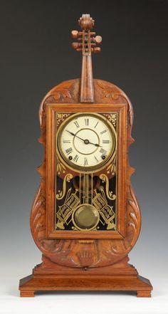 Fine and Rare Seth Thomas Violin Clock Unusual Clocks, Cool Clocks, Tick Tock Clock, Classic Clocks, Mantel Clocks, Time Clock, French Antiques, Violin Case, Grandfather Clocks