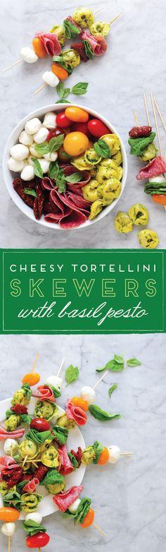 Italian Tortellini Skewers with Pesto #appetizer
