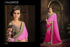 #Pink #satin #Chiffon #saree #with #beige #silk #blouse $92.59 www.fashionumang.com