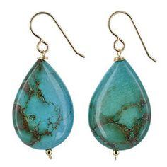 Turquoise Gemstones - 14 Karat Gold Filled - Handmade Teadrop Earrings