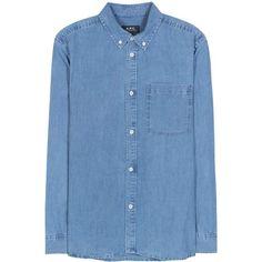 A.P.C. Lynn Cotton-Chambray Shirt ($200) ❤ liked on Polyvore featuring tops, blue, cotton chambray shirt, blue shirt, blue top and shirt tops