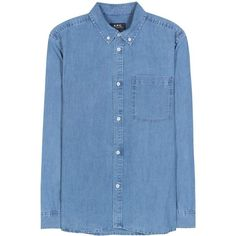 A.P.C. Lynn Cotton-Chambray Shirt (601.460 COP) ❤ liked on Polyvore featuring tops, shirts, blue, blue top, blue shirt, cotton chambray shirt and shirt tops