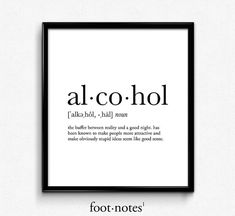 Alcohol definition dictionary art print by footnotestudios on Etsy