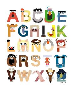 Muppet Alphabet by Mike Boon #Illustration #Alphabet  #Mike_Boon