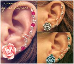 "Prom 1 Cartilage Ear Cuff ""Summer Rose"" Color Choices Wedding Bridal No Piercing Helix Conch#jewelry #arianrhodwolfchild #piercing #cartilage #earrings #earcuff #prom #wedding"