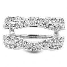 Diamond Pave Cradle Wedding Band Ring, Enhancer, Curved, 14k Gold, 1.0ctw
