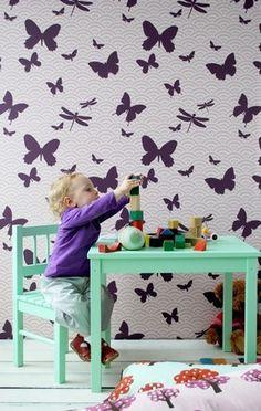 mint green table -Ferm Living - Butterfly Kids Wallpaper