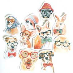 Adorable Pet Animals Flake Stickers 10 pcs by TheSpiritualCookie