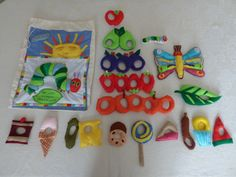 Very Hungry caterpillar - story sack Hungry Caterpillar Games, Little Red Hen Story, Nursery Stories, Playgroup Activities, Literacy Bags, Felt Food Patterns, Story Sack, Flannel Board Stories, Toddler Books