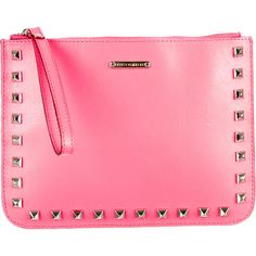 Pre-owned Rebecca Minkoff Studded Clutch ($75) ❤ liked on Polyvore featuring bags, handbags, clutches, pink, preowned handbags, rebecca minkoff handbags, pink studded purse, pre owned purses and wristlet handbags