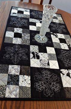 Embroidered patchwork table runner, black and white table topper, Sashiko embroidery