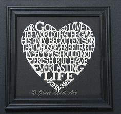 John 3:16 Heart - Bible Verse Quote - Scherenschnitte - Hand Paper Cutting Art signed and dated By Janet Lynch -10x10 Framed on Etsy, $69.00
