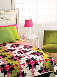 Walk Among the Stars Quilt Pattern Download from e-PatternsCentral.com -- The classic Sawtooth Star block gets a contemporary makeover with bands of color.