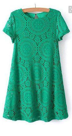Elegant Scoop Neck Openwork Short Sleeve Lace Dress For Women