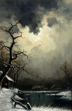 """A Dutch Town by Moonlight"" by Nils Hans Christiansen"
