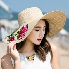 76044c01 Beautiful rose flower straw sun hats with embroidery for ladies wide brim  straw hat