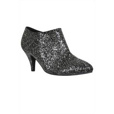 Black Silver Glitter Shoe Boots In EEE Fit ($21) ❤ liked on Polyvore featuring shoes, boots, ankle booties, glitter boots, glitter booties, black and silver boots and glitter ankle booties
