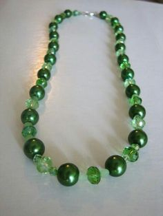 Handmade green necklace with swarovski elements crystals and beads
