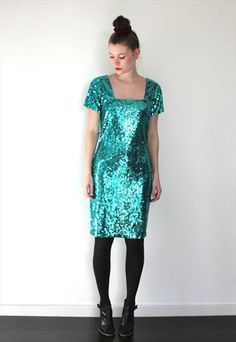 Vintage 1980 s Green Sequinned Midi Dress from Peekaboo Vintage Wedding  Looks ec7da925ca1f