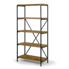 Chic, simple, versatile and durable, this etagere bookcase has it all. Black metal frame and pine wood shelfing create a modern industrial look, provide generous organization space and add style to your room. X-shaped metal support in the back provid Wood Storage, Wood Shelves, Wall Shelving, Wood And Metal, Solid Wood, Black Metal, Wood Ladder, Ladder Bookshelf, Bookcase With Glass Doors