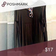 Black, sheer back t-shirt, sz M, CQ by CQ basics Black, sheer back t-shirt, sz M, CQ by CQ basics. Excellent condition. Cq by cq Tops Tees - Long Sleeve