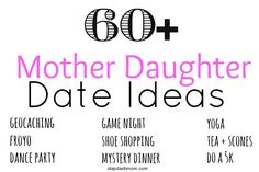 Looking for something fun to do with your kids? Or maybe you're the one looking to have a fun date with your mom. Either way, these Mother Daughter Date Ideas will get the brainstorming process goi...