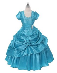 Gorgeous floor-length princess dress with bolero in a beautiful turquoise color! ~ Perfect for pageants, flower girls and holidays ~ Made in the USA (sz.2-16) ~ Color Me Happy Boutique