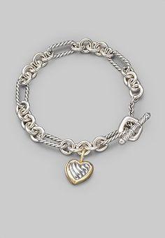 David Yurman - Sterling Silver & 18K Yellow Gold Heart Charm Bracelet - Saks.com