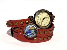 Leather watch bracelet - Earth, 0104WLBC from EgginEgg by DaWanda.com