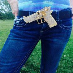 NEW:Rhinestone belt -GOLD GUN (black too) NEW: Gold gun rhinestone belt buckle, comes on belt. Also available in black Accessories Belts